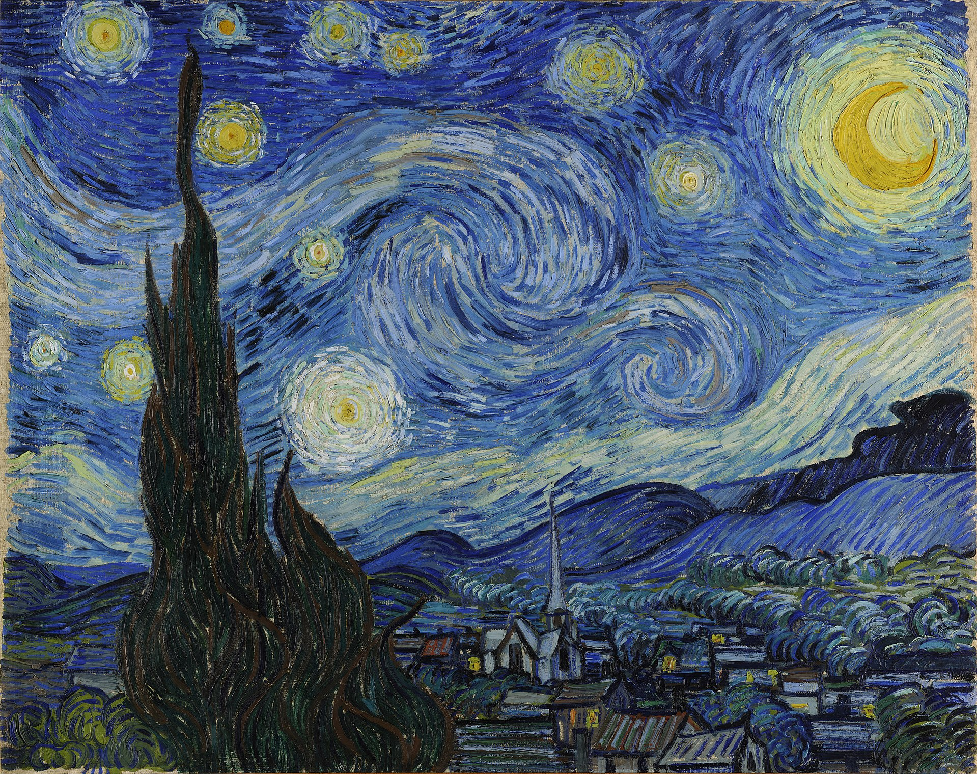 1920px Van Gogh   Starry Night   Google Art Project - Technique : la peinture à l'huile